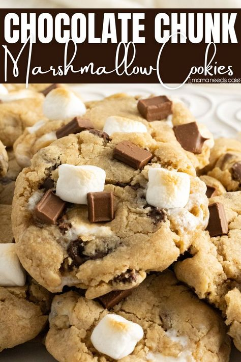 These Chocolate Chunk Marshmallow Cookies are ooey, gooey, and delicious. Add some extra texture and flavor to the traditional chocolate chip cookie by using chunks and marshmallows! #chocolatechipcookies #marshmallowcookies #smores #chewycookies #chocolate