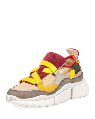 2516da61fb31 X4GMJ Chloe Sonnie Mixed Nylon Sneakers Designer Shoes, Flats, Heels,  Sneakers, Leather