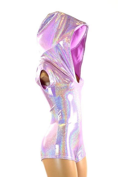 This bodysuit is made of lycra spandex in an dazzling lilac purple holographic shine.ξThe sparkling hologram shines with waves of liquid rainbows with every mo