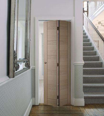 Linear Oak Bi Fold Door In 2020 Folding Doors Interior Folding Bathroom Door Bifold Doors