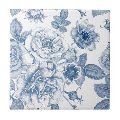 Vintage Blue White Floral Pattern Home Decor Tile Zazzle Com Blue Flower Painting Pattern Art Vector Flowers