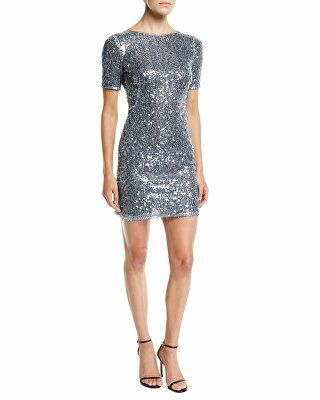 176efaca5fde Galvan Designer Short-Sleeve Sequined Mini Dress | Clothing ...