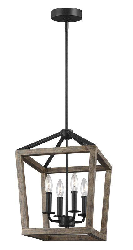 4 Light Lantern Geometric Chandelier Farmhouse Dining Room