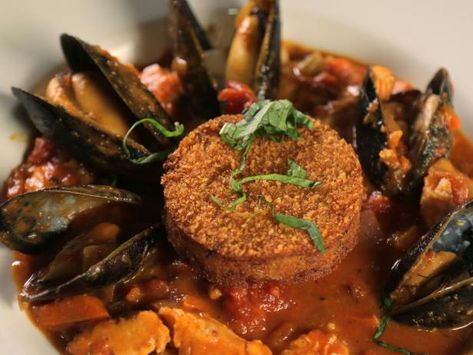 Pacific NW Cioppino with Rockfish, Salmon, Mussels and Dungeness Crab Cake