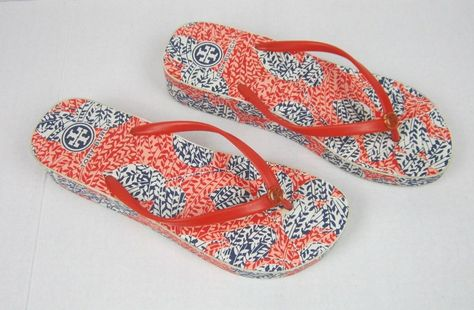 e3cdb0bb3cffe Tory Burch Wedge Flip Flop Sandals Orange Blue Floral Size 9  ToryBurch   FlipFlops
