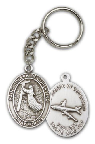 17 10 Antique Silver St Joseph Of Cupertino Keychain Patron Saint Of Pilots Airforce By Bliss Http Www A St Joseph Of Cupertino Patron Saints Cupertino