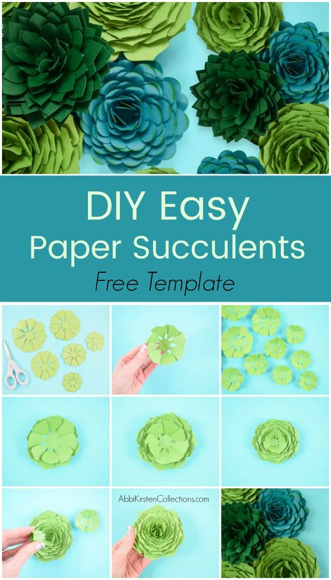 The right way to make paper succulents. Step-by-step paper succulent flower tutorial. Obtain your free paper succulent templates right here. Printable PDF recordsdata and SVG minimize recordsdata included. How To Make Paper Flowers, Large Paper Flowers, Tissue Paper Flowers, Paper Roses, Felt Flowers, Diy Flowers, Flower Crafts, Flower Paper, Free Paper Flower Templates