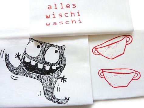 "Geschirrtuch ""alles wischi waschi"" // tea towel by TrashCodeUniverse via DaWanda.com"