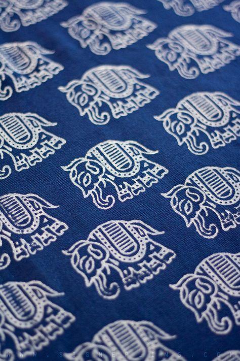 indian #elephant block-printed textile