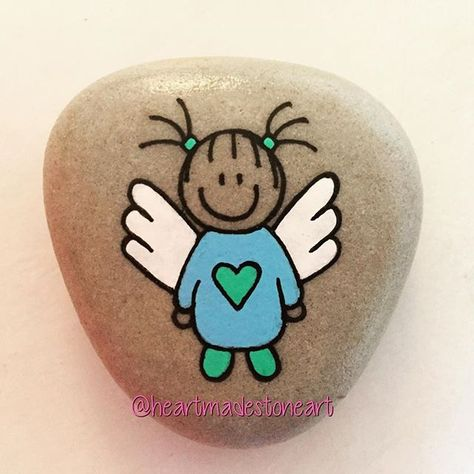 paintedstone #angels #angelwings #angelkids...