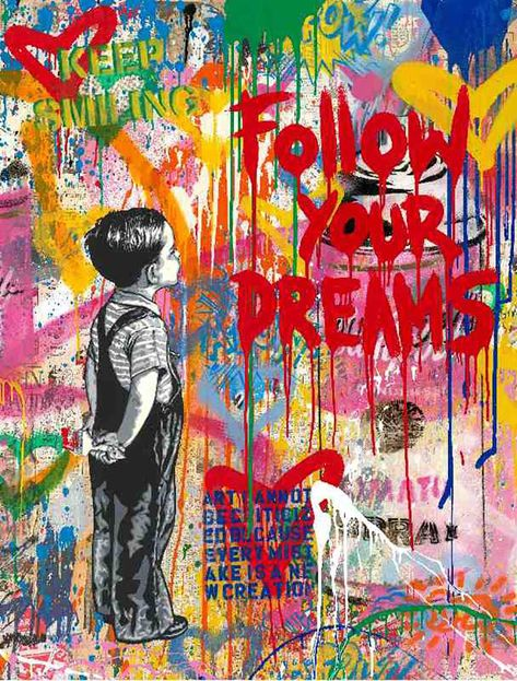 View this item and discover similar for sale at - Artist: Mr. Brainwash, Title: Dream Big Dreams Date: 2019 Medium: Mixed Media on Paper Unframed Dimensions: x Framed Dimensions: x Signature: Banksy Graffiti, Street Art Banksy, Murals Street Art, Banksy Artwork, Graffiti Wall Art, Graffiti Painting, Mural Art, Pop Art Paintings, Street Wall Art