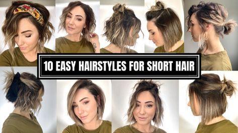 Hair Styles 10 Easy Hairstyles for Short Hair # Short Hair Styles Easy, My Hairstyle, Cute Hairstyles For Short Hair, Short Hair Cuts, Curly Hair Styles, Short Hair Tutorials, Short Hair Updo Easy, Makeup For Short Hair, Ideas For Short Hair