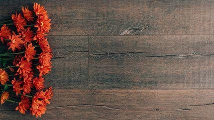 Autumn Orange Flowers On Rustic Dark Wood Background Dark Wood Background Wood Background Fall Floral