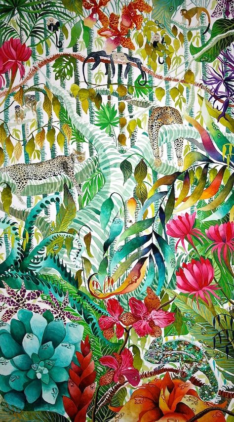 'Deep in the Jungle', Kate Morgan RI Studio, all works are ©KateMorganStudio and can not be reproduced in any form without consent of the artist.  #original #contemporaryart #fineart #jungle #watercolor #watercolours #painting #monkeys # chameleon