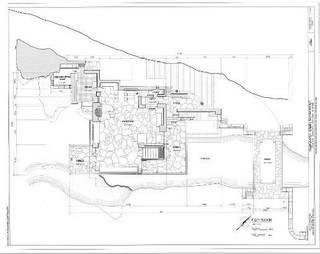 フランクロイドライト設計のライト自邸及び落水荘の寸法まで記載された