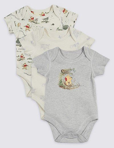3 Pack Winnie The Pooh Friends Bodysuits Marks Spencer