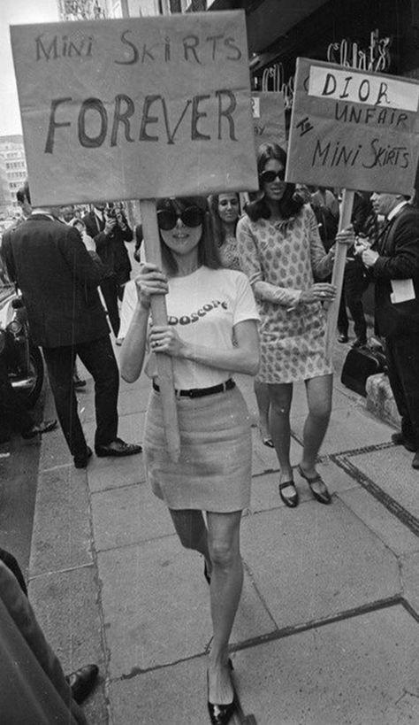 Miniskirt protest in London, mid 1960s
