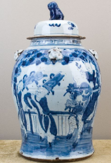 Blue and White Porcelain Chinoiserie Jar with Lid
