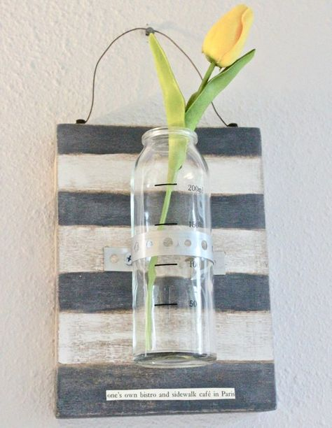 Charcoal And White Striped Hanging Wall Bud Vase With Glass Bottle