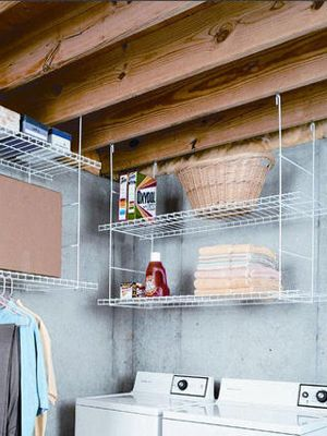 Rafter-hung shelves create storage where none would otherwise be possible.  - WomansDay.com