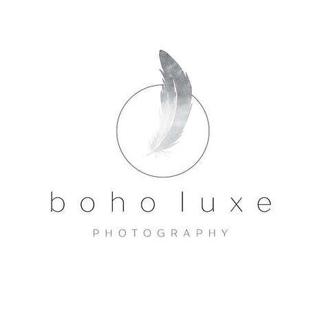 Boho Logo Feather Logo Simple Logo Minimal Logo Luxe Logo Wedding Logo Business Logo Photography Wedding Photography Logo Photography Logos Feather Logo