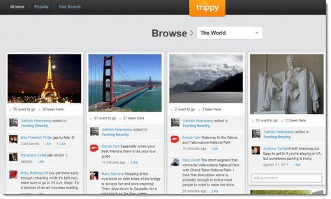 #trippy no es un clon pero si a rediseñado su web al estilo #pinterest visto en #wwwhastsnew (pinned by @jagtomas)