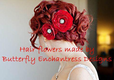 lot of 2 rhinestone flower hairclips