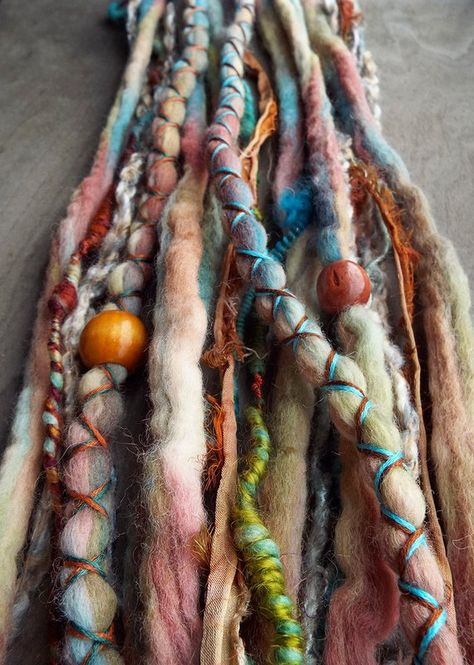 10 Custom Clip In or Braid In Dreadlock Extensions Color Mix: Cloudy Days Boho Tie Dye Wool Syntheti