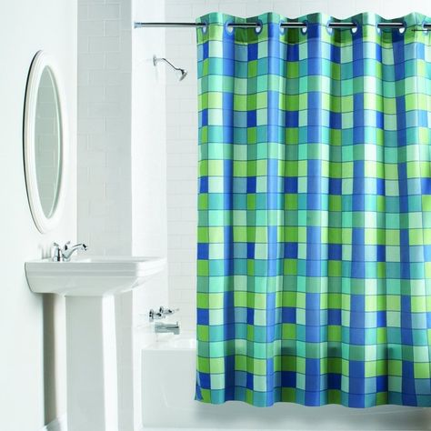 Hookless Checkmate Shower Curtain Blue Green Hookless Shower
