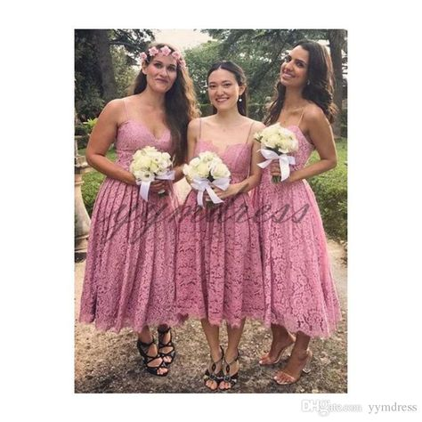 d44cbaedacee8 Fuchsia Bridesmaid Dresses 2019 Spaghetti Neck Lace Knee Length Maid of  Honor Dress Wedding Guest Gowns Formal Dresses