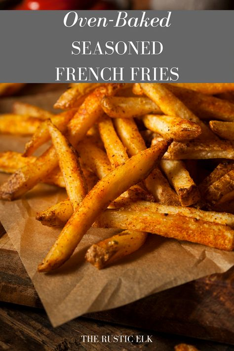This homemade French fry recipe is baked in the oven and seasoned to perfection for perfect, crispy French fries every time. This homemade French fry recipe is baked in the oven and seasoned to perfection for perfect, crispy French fries every time. Seasoned French Fries Recipe, French Fry Seasoning, Seasoned Fries, Crispy French Fries, Best French Fries, Recipe For Homemade French Fries, Recipe For Oven Baked French Fries, Healthy French Fries, Perfect French Fries