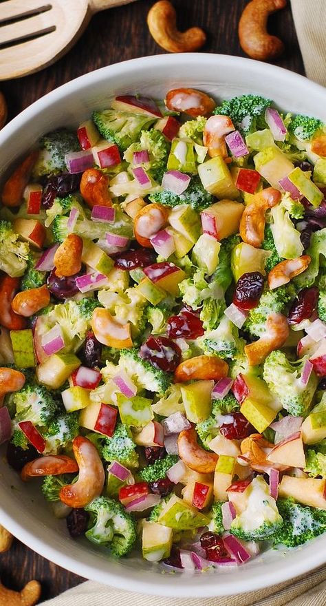 Broccoli, Cashew, Apple, and Pear Salad