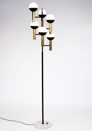 Anonymous; Marble Brass and Enameled Metal floor Lamp by