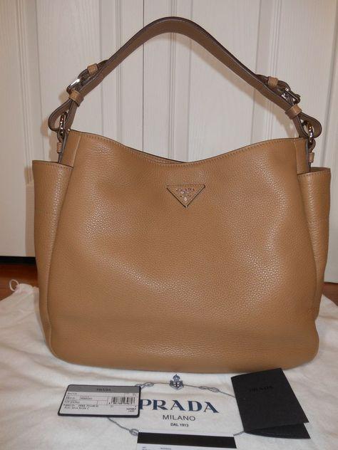 8774cbc422d5 NEW Auth Prada Vitello Daino Single Strap Leather Hobo Shoulder Bag Handbag,Tan  #PRADA #HoboShoulderBag
