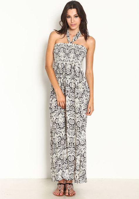 0f25210636 MONOCHROME HALTER MAXI   Women Fashion Idea   Prom dresses, Dresses ...