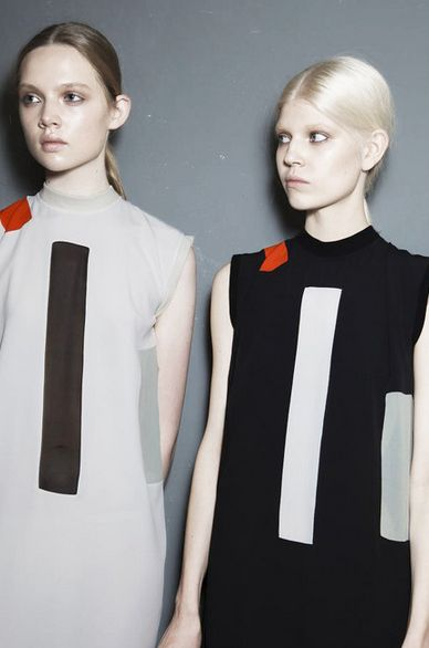 Holly Rose Emery and Ola Rudnicka backstage at Damir Doma (SS