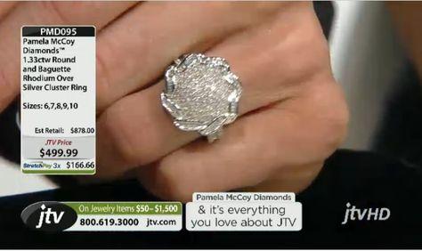 Pamela Mccoy Diamonds(Tm) 1.33ctw Round & Baguette Rhodium Over Silver Cluster Ring ERV: $878.00 JTV Price: $499.99