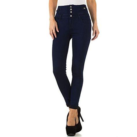Schuhcity24 Damen Jeans Hose Jeanshose Hochbund High Waist