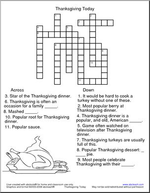 This Thanksgiving-themed crossword puzzle is perfect for ...
