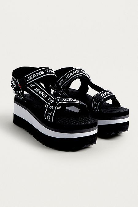 the best really cheap huge discount Tommy Jeans Technical Black Platform Sandals | Black platform ...