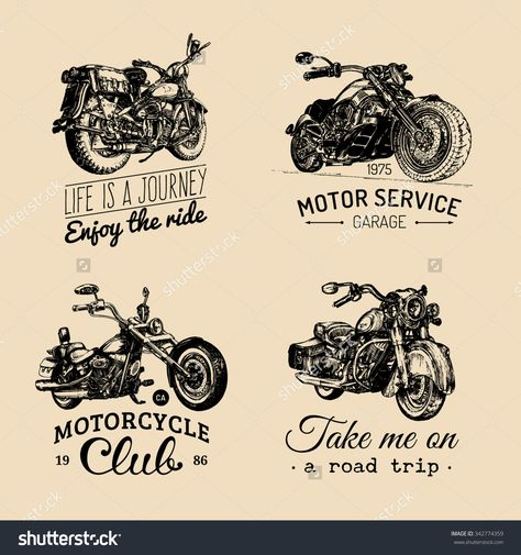 Vector Illustration Of Hand Sketched Vintage Motorcycles. Hand Drawn Classic Chopper Bikes In Ink Style. Retro Motorbikes Illustration. Custom Motor Cycles Logo. Biker Club Signs. Garage Labels. - 342774359 : Shutterstock
