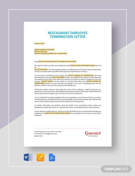 Restaurant Employee Termination Letter Memo Template Lettering