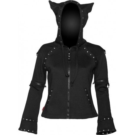 Black gothic hoodie with horn detail, Queen of Darkness