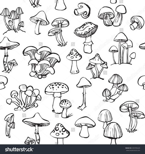 Find Vector Seamless Pattern Mushroom Toadstools stock images in HD and millions of other royalty-free stock photos, illustrations and vectors in the Shutterstock collection. Mushroom Drawing, Mushroom Art, Line Drawing, Drawing Tips, Mushroom Tattoos, Mushroom Images, Psychadelic Art, Trippy Painting, Minimal Web Design