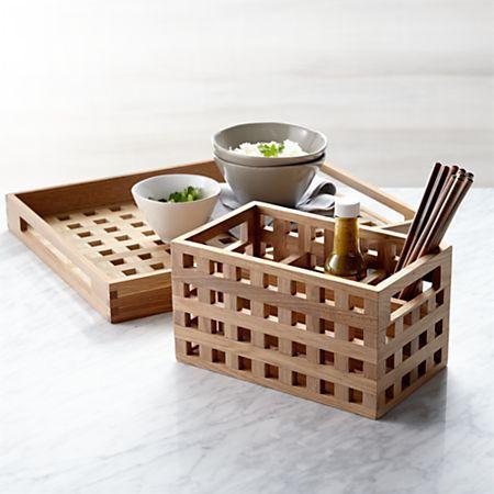 Check Oak Tray Reviews Crate And Barrel Flatware Caddy Crate And Barrel Oak