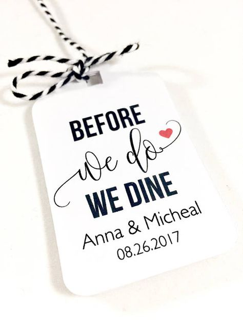 Wedding Rehearsal Dinner, Before We Do We Dine, Silverware Tags, Wedding Table Decor, Set of 12