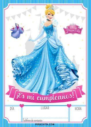 Invitacion Cumpleanos De La Cenicienta 2021 Gratis Princess Birthday Invitations Disney Princess Cinderella Party