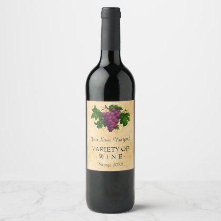 Wine Template Elegant Vintage Purple Grapes Custom Wine Label Zazzle Com Custom Wine Labels Custom Wine Homemade Wine Bottle Labels