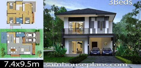 House Plans Idea 7 4x9 5m With 3 Bedrooms Sam House Plans House Plans Log Home Floor Plans House Design