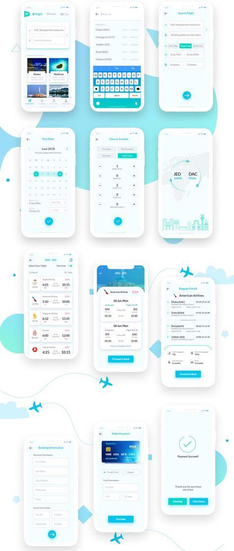 Flight Booking Free UI Kit · Pinspiry